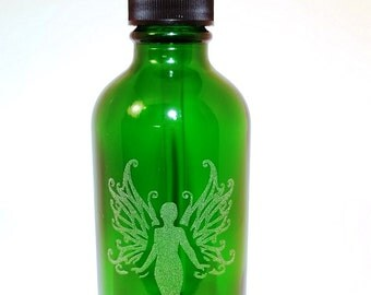 Green Fairy Bottle - La Fee Verte - Four (4) Ounce Boston Round Dropper Bottle perfect for Absinthe