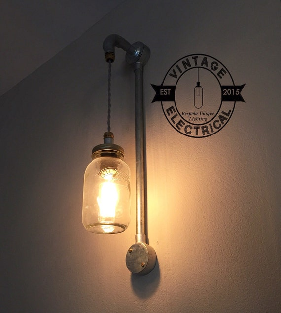 Wall Light Jam Jar : Industrial Kilner mason jam jar wall light by VintageElectrical