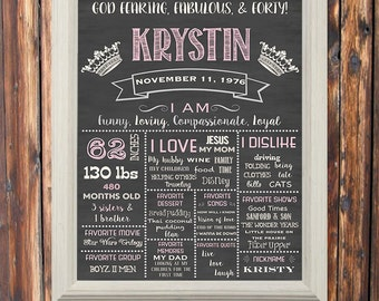 Social Media-Personalized-Custom-Printable-Chalkboard Sign-Gift-Keepsake-off-whiteDigital-Pink-Gray-Adult-Wall Decor-Sign-Milestone-Birthday