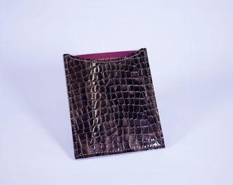 DORNEY Premium Leather and Suede-Lined Passport Sleeve - Brown Patent Croc Print