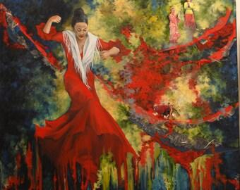 Flamenco red - oil - 36 x 36 in.