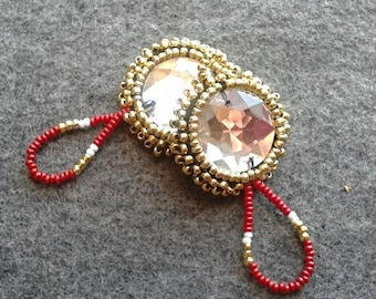 Handmade red and gold earrings with clear gem