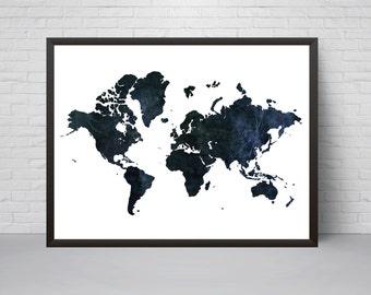 Navy world map etsy world map print wall art navy prinatble world map poster home decor gumiabroncs Gallery