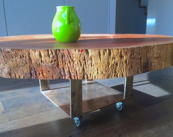 Tree trunk coffee table-Nature indoors