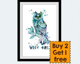 Percy Jackson art poster Wise Girl Annabeth Chase art print Wise Owl poster Home decoration Kids room decor Gift idea Wise Girl poster W721