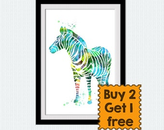 Zebra watercolor print Zebra art poster Animal colorful print Safari animal poster Home decoration Kids room art Nursery room decor W579