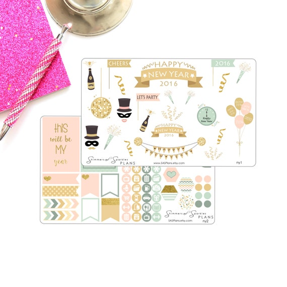 New Year's Planner Sticker Set - Mambi Happy Planner/ Erin Condren / Inkwell Press Planner / Filofax / Day Designer