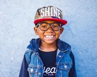 shine kid snapback, child snapback, youth snapback, unisex snapback, toddler snapback, caps, hats, camo snapback, red hat, fatigue snapback
