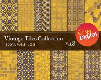 Gold Digital Papers Vintage Tiles 12pcs 300dpi Digital Download Collage Sheets Scrapbooking Gold Printable Paper