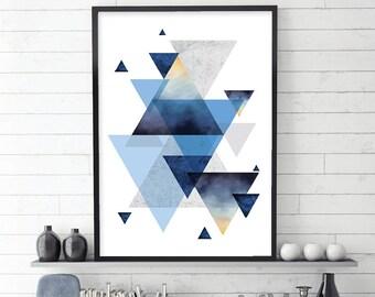 Geometric Poster, Geometric Print, Blue, Navy, Copper, Scandinavian Print, Scandinavian Art, Downloadable, Printable Wall Art, Wall Decor