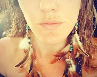 Long funky Rooster Feather Earrings