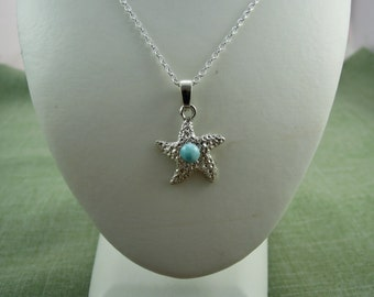 Larimar Hammered Starfish on Sterling Silver Necklace