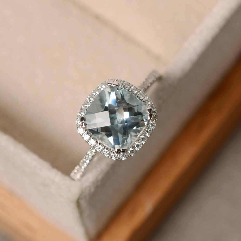 aquamarine engagement ring cushion cut sterling silver. Black Bedroom Furniture Sets. Home Design Ideas