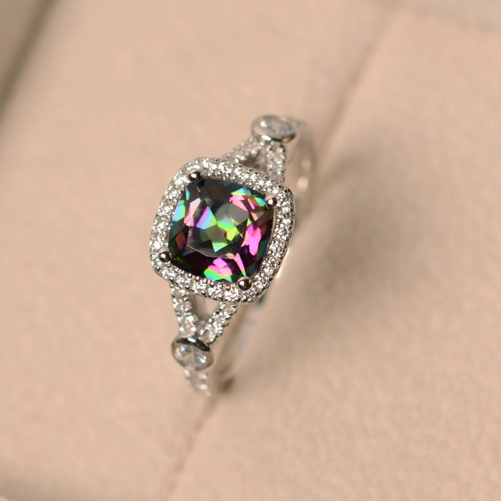 Diamond Mystic Topaz Engagement Rings