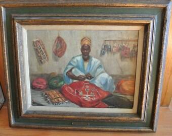 "Rare Bonita H. Valien, Black American Artist  deceased--""Kano Leather Trader"" Orientalist painting"