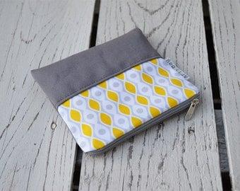 Mini toiletry bag, cosmetic case, zipper canvas coin purse, birthday present, birdesmaid gift, zippered mini bag, valentine's day gift