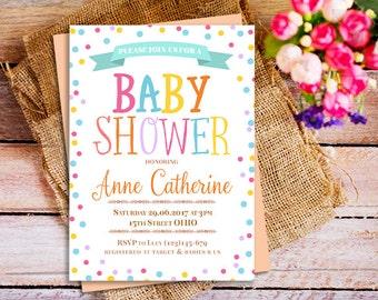 Rainbow baby shower invitations, Polka Dots rainbow Invitation, Colorful Rainbow invites, Rainbow party invites, Rainbow Dots Invitation