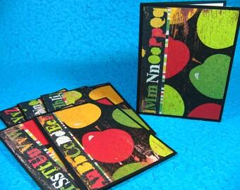 Set of 5 Notecards, Blank Inside, Stationery, Apples, Teacher, Thank You (#46)