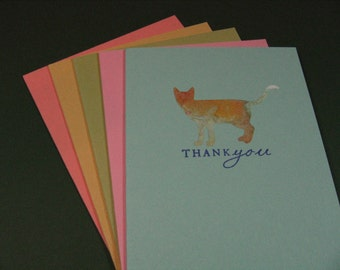 Thank You Cards, Set of 5, Different Cats, Stationery, Pastel Colors, Blank Inside, Pet  (#60)