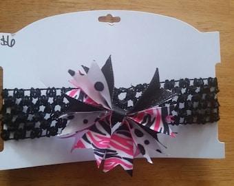 Zebra, polka dot baby headband