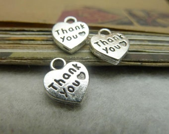BULK 50 Thank You Heart Charms Antique Silver Tone - WS7026