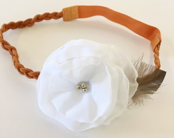Orange leather headband with ivory ruffled flower - fall feather leather headband - shabby chic braided headband - burnt orange headband