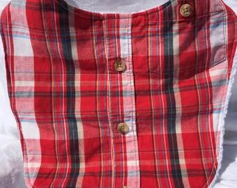 Boys red plaid Dress Shirt bib/ Baby Boy bib/ baby boy shower gift/ Upcycled, ecofriendly/ dress bib/ just like Daddy