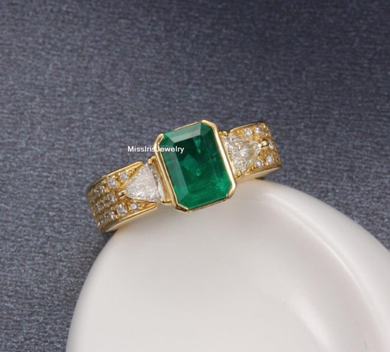 Items similar to Emerald Engagement Ring on Etsy
