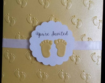 Baby Shower Invitations, Baby Feet Onesie Pocket Invitation set of 10 or more