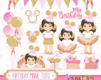 Birthday Minnie Tutu, Minnie Party Theme, Glitter Paper, Clipart, Digital Paper, Numbers, Balloons