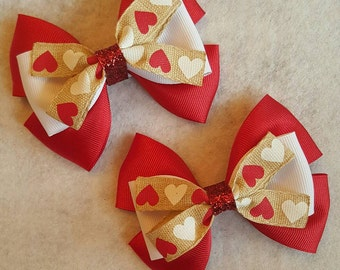 Red and White Valentines Day Hearts Hair Bow Pigtail Set
