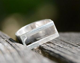 Sterling Silver Rectangular Ring