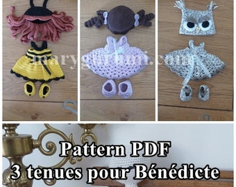 Crochet Pattern, pattern, tutorial, Amigurumi, dolls, 3 outfits for the Benedict (Pack 1) doll