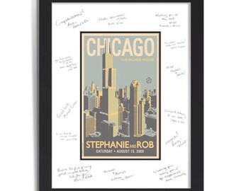 Downtown Chicago Wedding Personalized Art Guest Signing System (Medium)