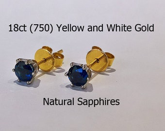 18ct 18K 750 Yellow and White Gold Gold Natural Sapphire Stud Earrings Jewellery - HJ79