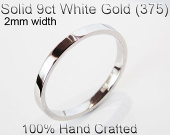 9ct 375 Solid White Gold Ring Wedding Engagement Friendship Friend Flat Band 2mm