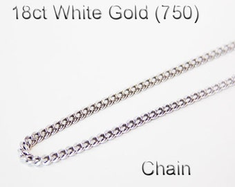 18ct 18K 750 Solid White Gold Chain Necklace Link Jewellery Genuine - PS42