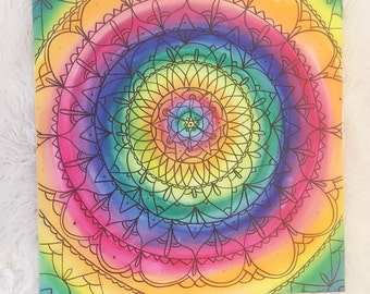Mandala #4 - Original Rainbow Handpainted Canvas Artwork - Watercolour
