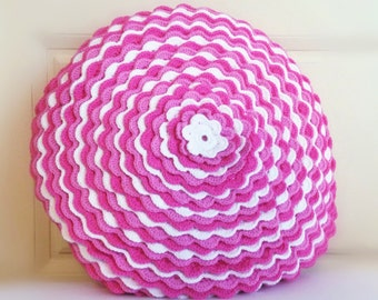 Crochet round Cushion-Pink/White