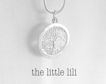 Sterling Silver Tree-of-Life Necklace/Tree-of-Life Pendant/Flat Shape Tree of Life Pendant/Family Necklace/Gift for Her Under 20/Mothers Day