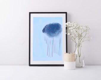 Rainy days - print, baby blue abstract art, art print, soft colours, cloud