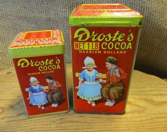 Vintage Droste's Cocoa  Tin Set  1lb. - 8 oz. Containers
