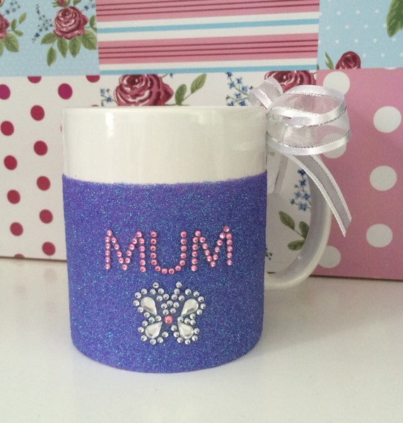 Beautiful mum hand glittered glass mug personslised Mother's Day gift present