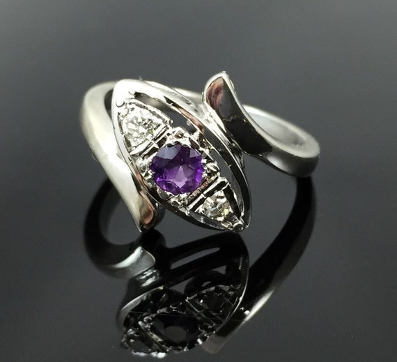 amethyst 14k white gold ring vintage 1950s split