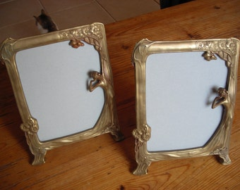 Art Nouveau Photo Frames in solid brass.  Selling as a pair.