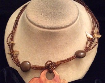 Vintage Multi Stranded Brown Glass Beaded Buragndy-Brown Floral Shell Pendant Necklace