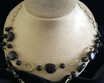 Vintage Double Stranded Front Black Beaded Necklace
