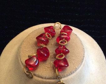 Vintage Chunky Red Glass Bracelet