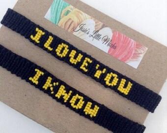 Star Wars couple bracelets / I love you I know / Leia and Han Solo bracelets / couples bracelets