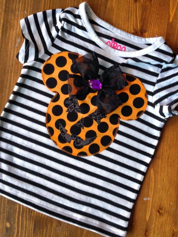 Halloween Minnie Mouse with Bow and Rhinestone Girl Tee, Girl Shirt, Dress